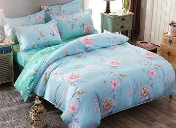 Vivilinen Pink Peonies and Butterfly Prints Polyester 4-Piece Blue Bedding Sets/Duvet Covers
