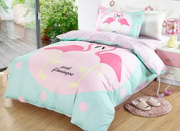 Vivilinen Flamingo Couple Pattern 3 Pieces 100% Cotton Duvet Cover Sets