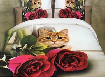 Vivilinen Cat and Red Rose Print 4-Piece Polyester 3D Duvet Cover