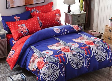 Vivilinen Dark Blue Eiffel Tower and Floral Prints Polyester Polka Dot 4-Piece Bedding Sets