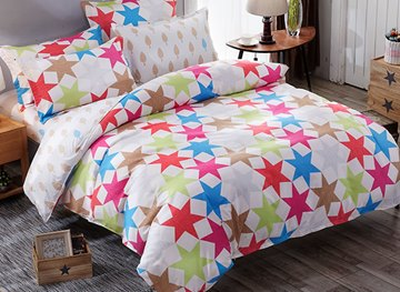 Vivilinen Hexagram Prints Polyester 4-Piece Bedding Sets/Duvet Covers