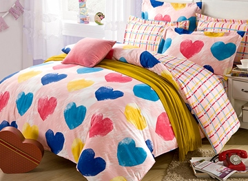Vivilinen Chic Colorful Heart Shape Pattern Kids Duvet Cover Set