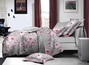 Vivilinen Pink Peony Print Polyester 4-Piece Duvet Cover Sets