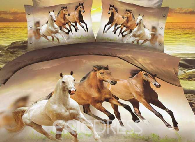 Image of 3D European Style Galloping Horse Reactive Print 4 Piece Polyester Bedding Set