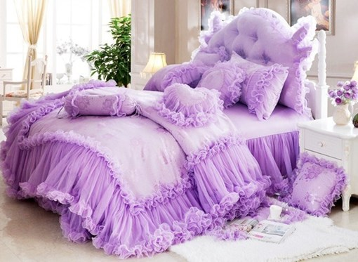 Vivilinen Cinderella Total Lace Trim Pure Color Cotton Bedding Sets