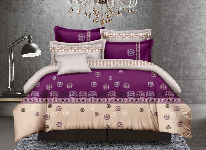 Vivilinen Stylish Purple Polyester 4-Piece Duvet Cover Sets