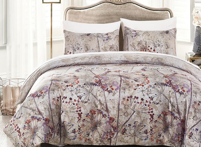 Vivilinen Ink and Wash Painting Flowers Printed Polyester 3-Piece Bedding Sets/Duvet Cover