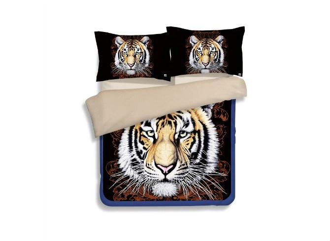 Vivilinen Imperial Tiger 3D Printed Polyester 4-Piece Duvet Cover Sets