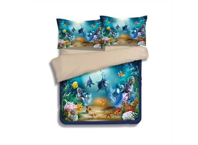Vivilinen Dreamy Dolphin and Mermaid Print 4-Piece Polyester Duvet Cover Sets