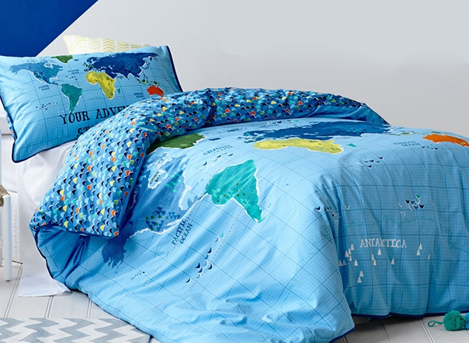 Vivilinen Map of The World Print Kids 2-Piece Duvet Cover Set
