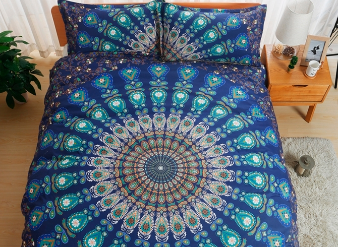 Vivilinen Peacock Mandala Print Blue Polyester 3-Piece Bedding Sets