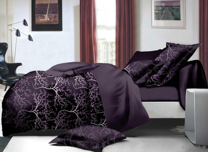 Vivilinen Branch Print Purple Polyester 4-Piece Bedding Sets/Duvet Covers