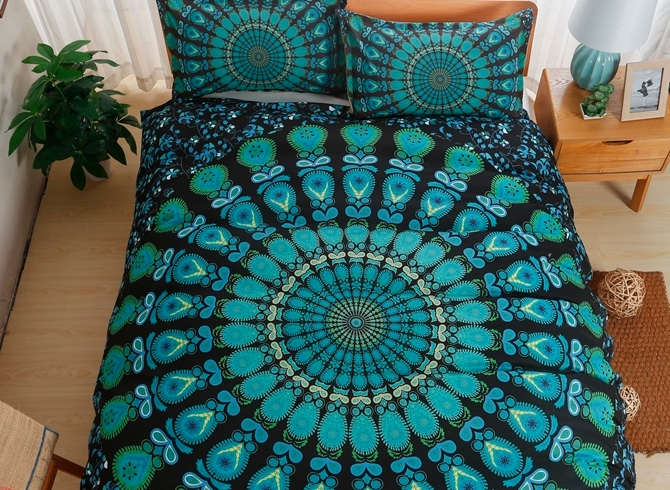 Vivilinen Green Peacock Mandala Print Polyester 3-Piece Bedding Sets