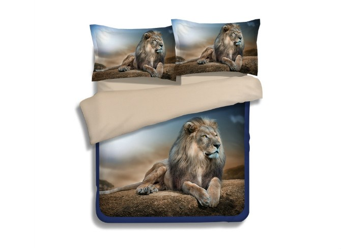 Vivilinen Powerful Fiece Long Fur Lying Lion 4-Piece Polyester 3D Duvet Cover