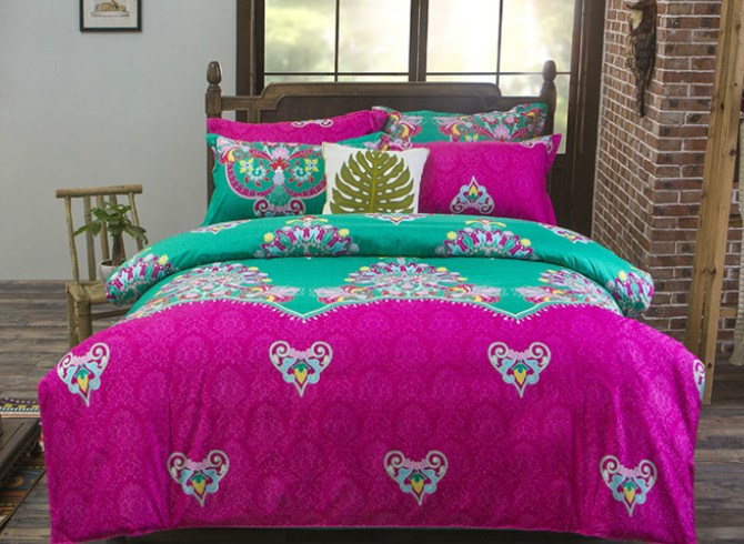 Vivilinen Gorgeous Contrast Color Exotic Pattern Polyester 4-Piece Bedding Sets/Duvet Cover