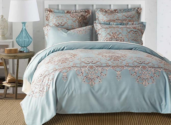Vivilinen Swirls Light Blue Polyester 3-Piece Bedding Sets/Duvet Cover