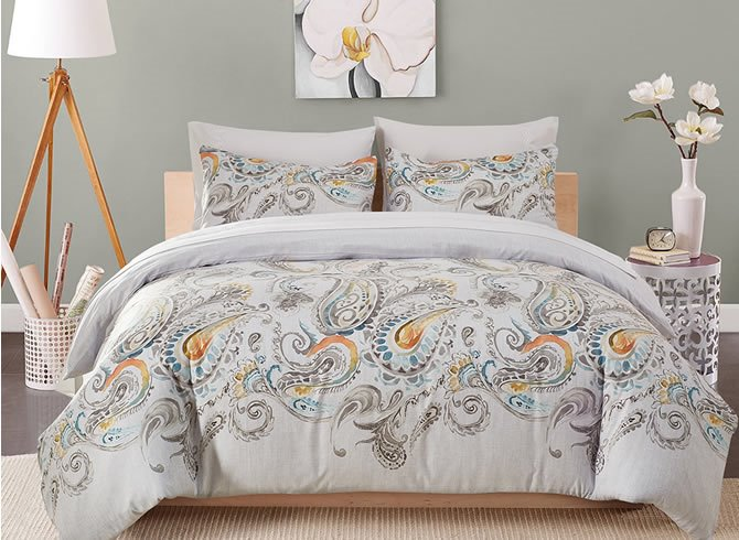 Vivilinen Peacock Tails Wash Painting Printed Polyester 3-Piece Bedding Sets/Duvet Cover