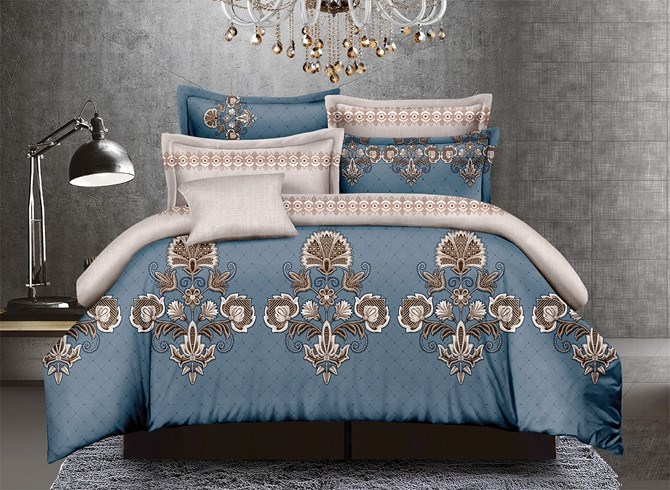 Vivilinen Arabesque Blue Polyester 4-Piece Duvet Cover Sets