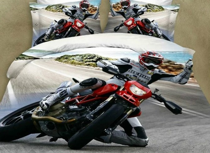 Vivilinen Motorcycle Print 4 Pieces Polyester 3D Bedding Sets