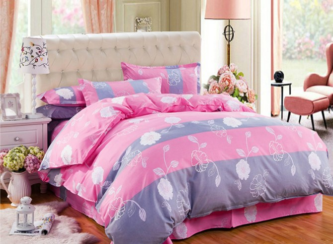 Vivilinen Cuddly Flowers Design Polyester 4-Piece Duvet Cover Sets