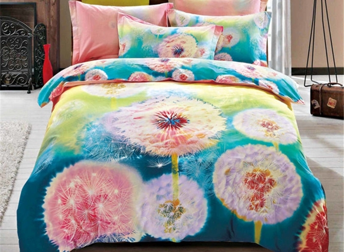 Vivilinen Watercolor Dandelion Printed Cotton 4-Piece Bedding Sets/Duvet Cover