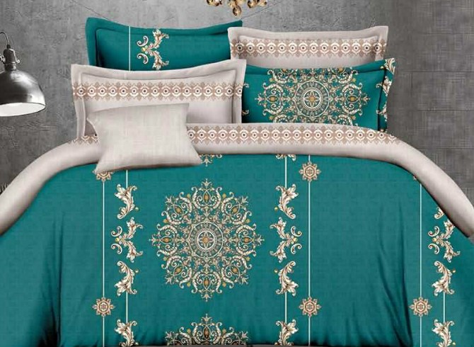 Vivilinen Medallion and Jacobean Print Green 4-Piece Polyester Duvet Cover Sets