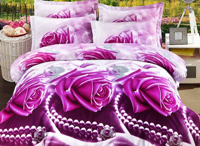 Vivilinen 3D Bright Rose and Peral Print 4-Piece Polyester Duvet Cover Sets