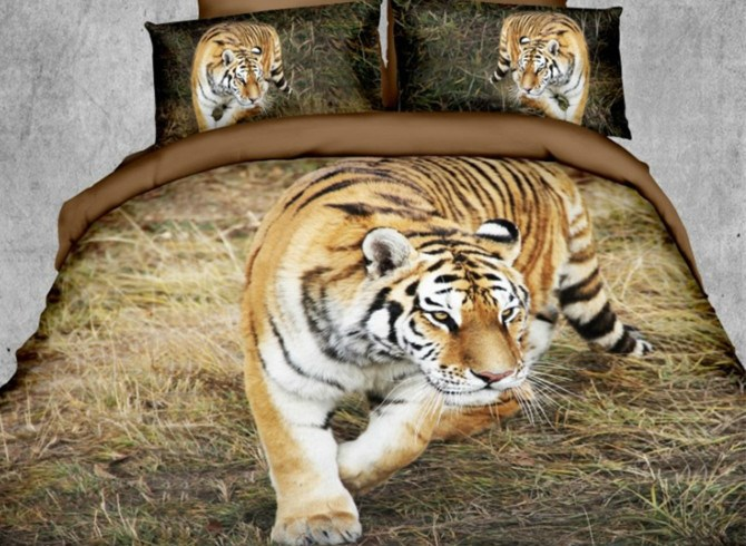 Vivilinen Tiger on the Grass Print Polyester 3D Bedding Sets