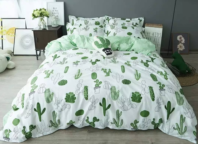 Vivilinen Cactus Printed Cotton Casual Style White Duvet Covers/Bedding Sets