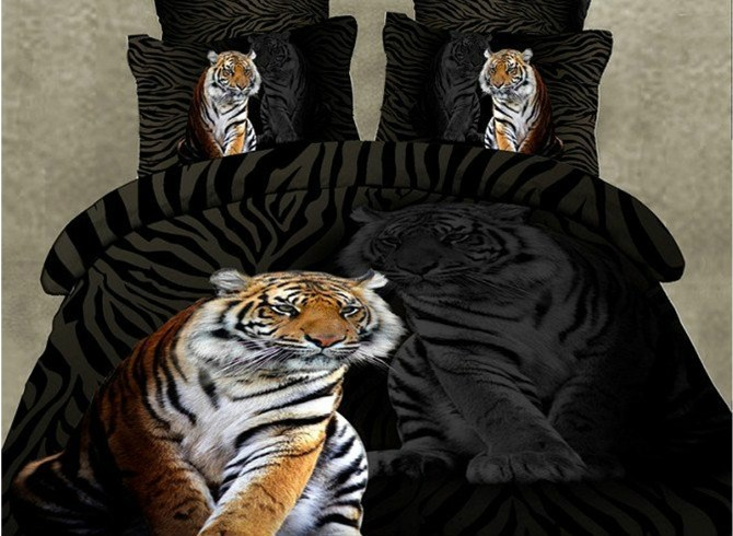 3D Animal Dark Cool Style Mighty Tiger Print Bedding Sets