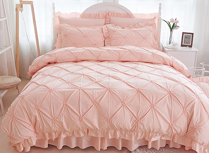 Vivilinen Pinch Pleat Cotton Princess Style 4-Piece Pink Duvet Covers/Bedding Sets