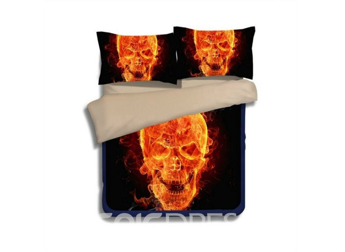 Image of 3D Fiery Skull Printed Polyester 4-Piece Bedding Sets/Duvet Covers