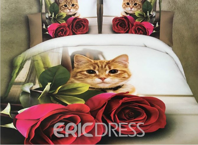 Vivilinen Cat and Red Rose Print 4-Piece Polyester 3D Duvet Cover 12210635