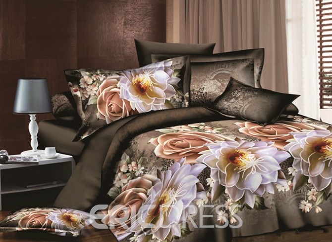 Vivilinen Vintage Style Rose and Peony Print 4-Piece Duvet Cover Sets