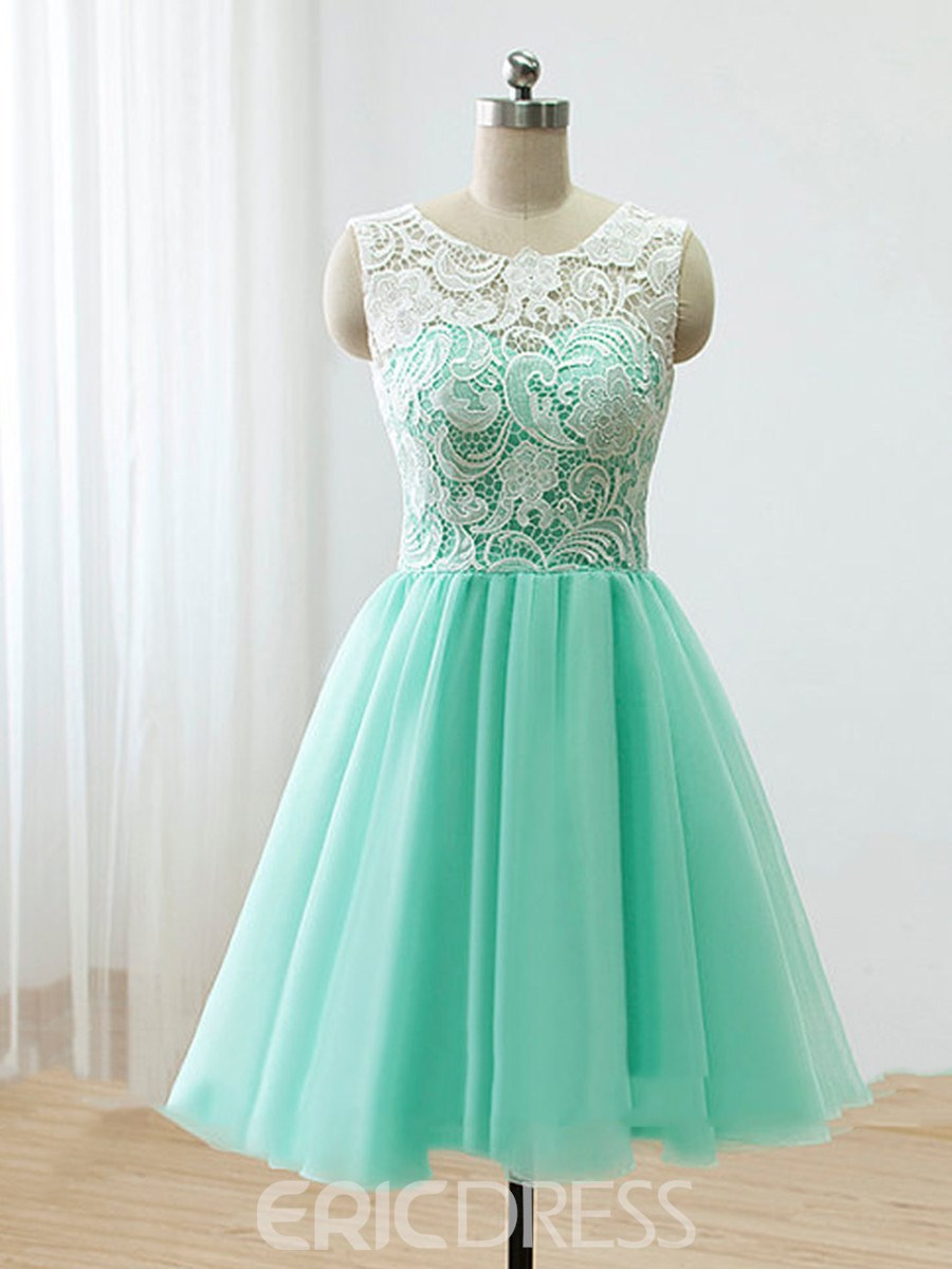 Ericdress Exquisite Round-Neck Lace A-Line Short Prom Dress ...