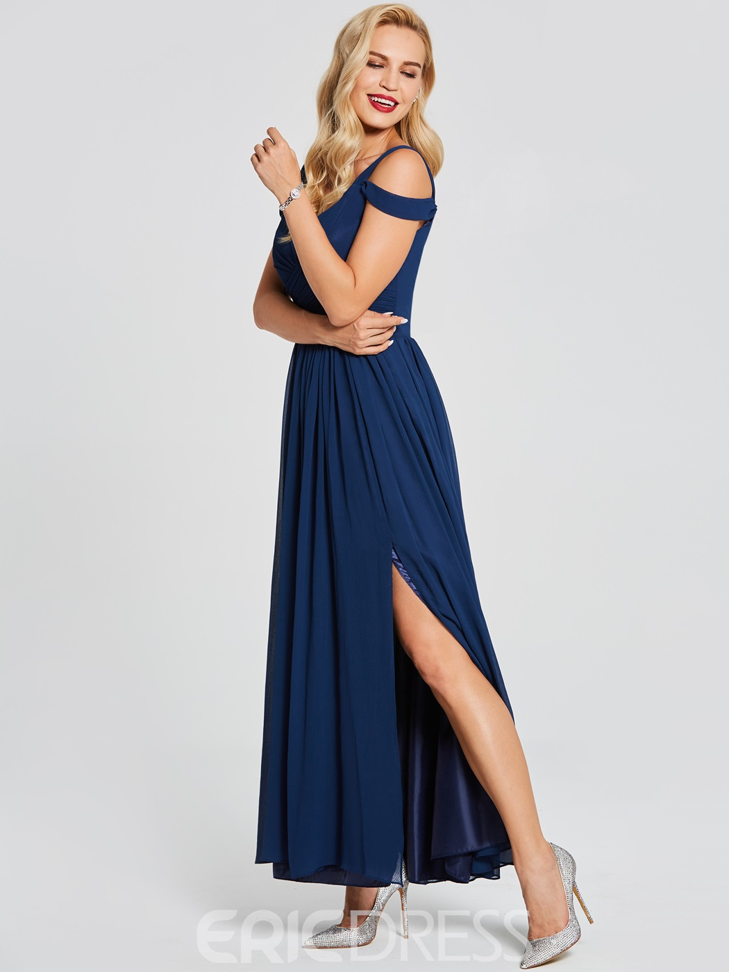 Ericdress A-Line V-Neck Pleats Split-Front Evening Dress