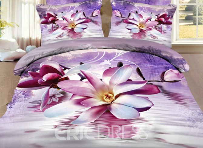 Vivilinen Purple Magnolia Print 4 Pieces Polyester 3D Bedding Sets