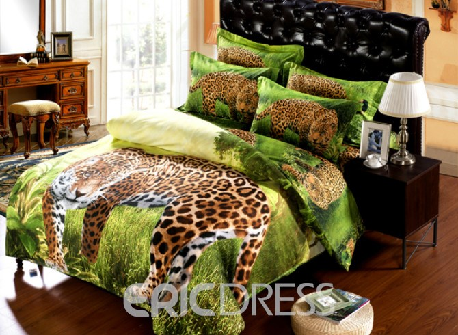 Vivilinen Leopard on Prairie Print 6-Piece Duvet Cover Sets