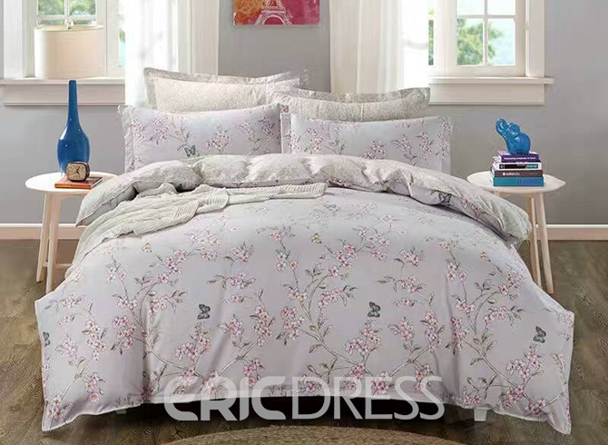 Blooms and Butterfly Print Polyester 4-Piece Duvet Cover Sets