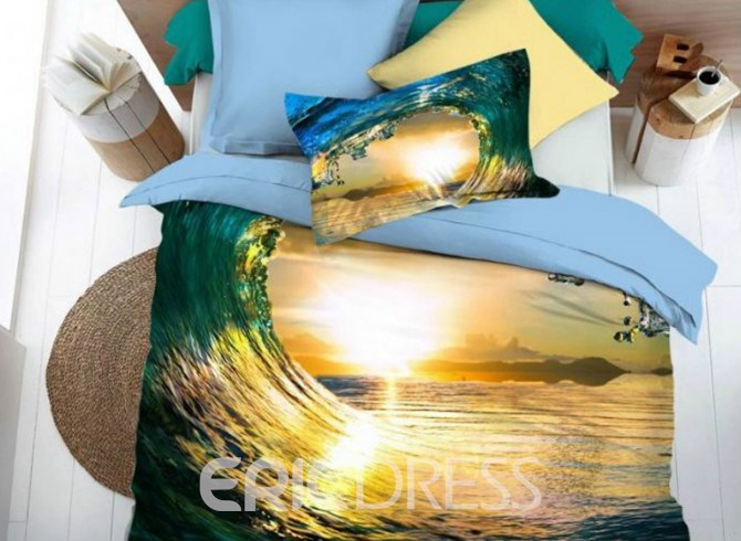 Vivilinen 3D Blue Spindrift Print 4-Piece Duvet Cover Sets