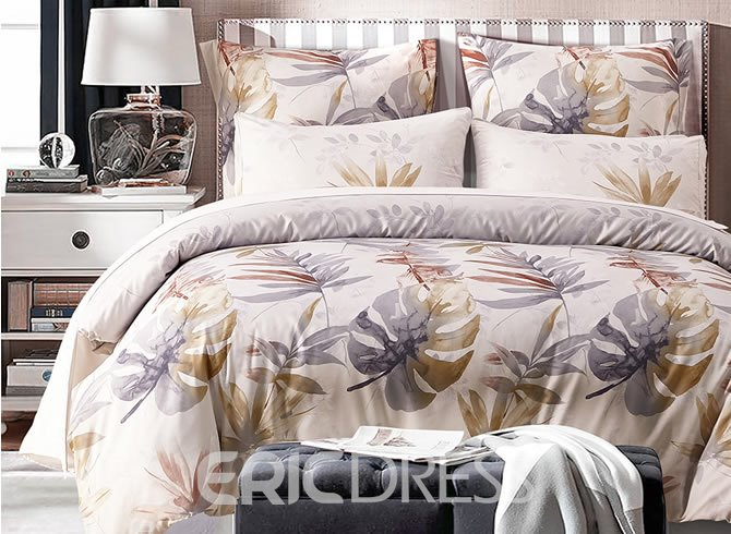 Vivilinen Tropical Leaves Printed Polyester 3-Piece Bedding Sets/Duvet Cover