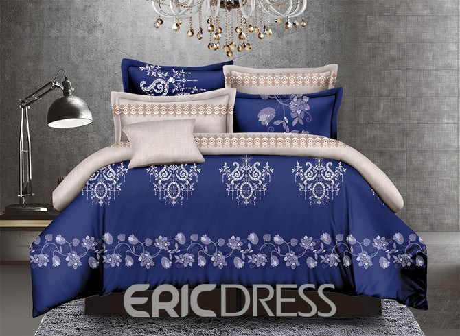 Vivilinen Jacobean Print Dark Blue Polyester 4-Piece Duvet Cover Sets