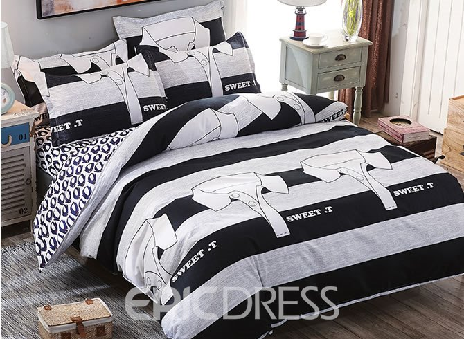 Vivilinen Black and White Stripe T-Shirts Prints Polyester 4-Piece Boys Bedding Sets