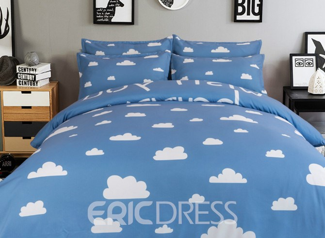 Vivilinen Cloud Pattern Light Sky Background Kids 4-Piece Duvet Cover Set