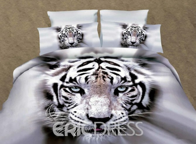 Cool Style Bight Eyes White Tiger 3D Printed Polyester 4-Piece Bedding Sets