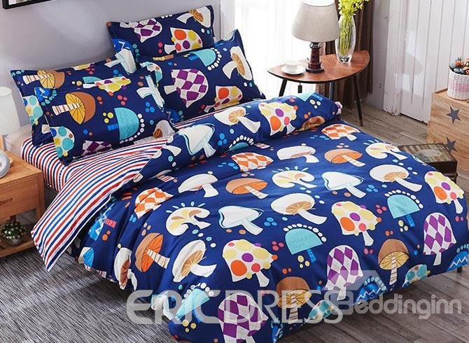 Vivilinen Multicolor Mushrooms Prints Polyester 4-Piece Dark Blue Bedding Sets/Duvet Cover