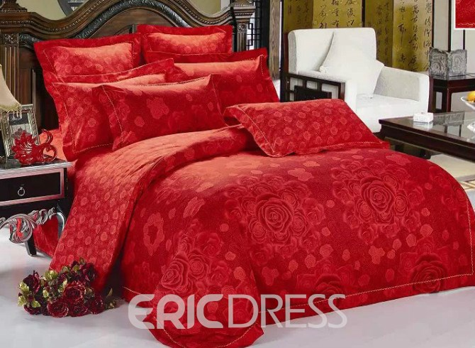 Vivilinen Red Flower Print 4-Piece Polyester Duvet Cover Sets