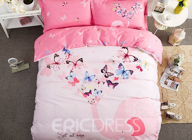 Vivilinen Butterfly and Elephant Pattern Kids Cotton 4-Piece Duvet Cover Sets