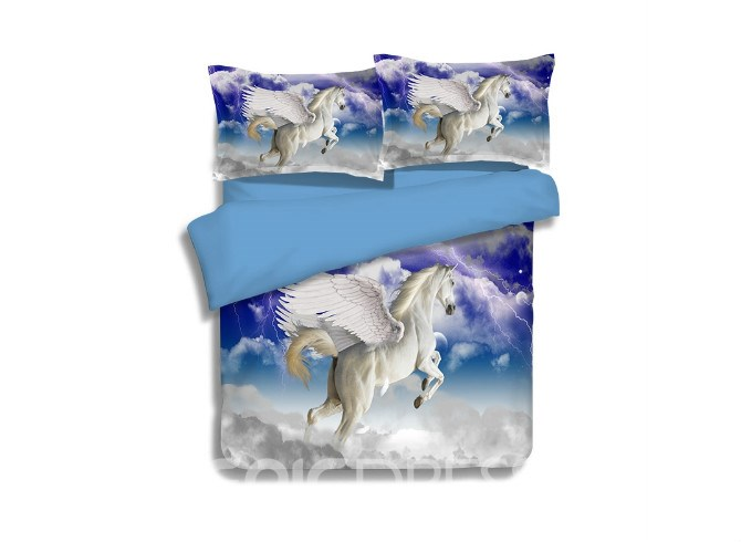 Vivilinen Amazing Lifelike Flying Unicorn Print 4-Piece Polyester Duvet Cover Sets