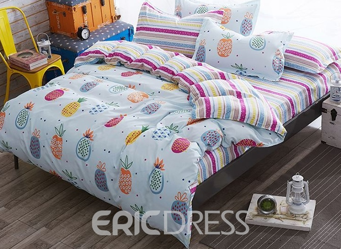Vivilinen Cartoon Pineapple Polyester 4-Piece Bedding Sets/Duvet Cover